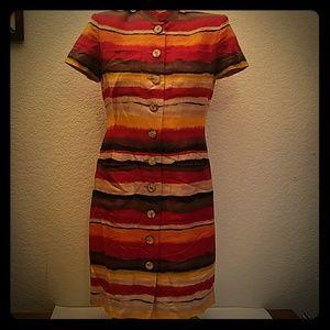 Liz Claiborne cute funky boho striped spring dress